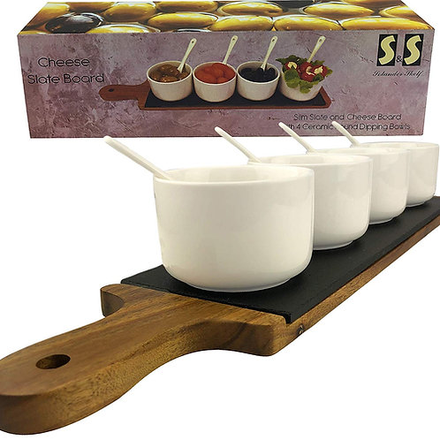 Serving Tray Acacia Wood and Slate | A Deluxe Charcuterie Board Cheese Platter