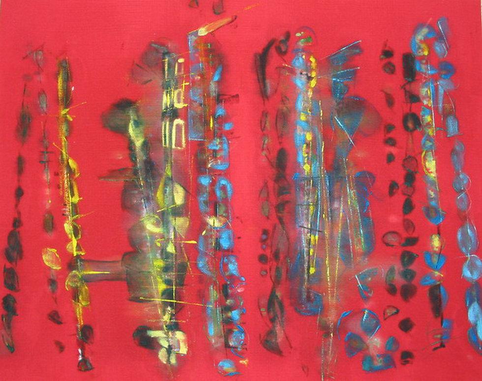 Red Jazz, 73 x 92 cm, huile sur tissue,