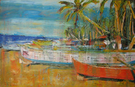 """Small orange fisherboat"""