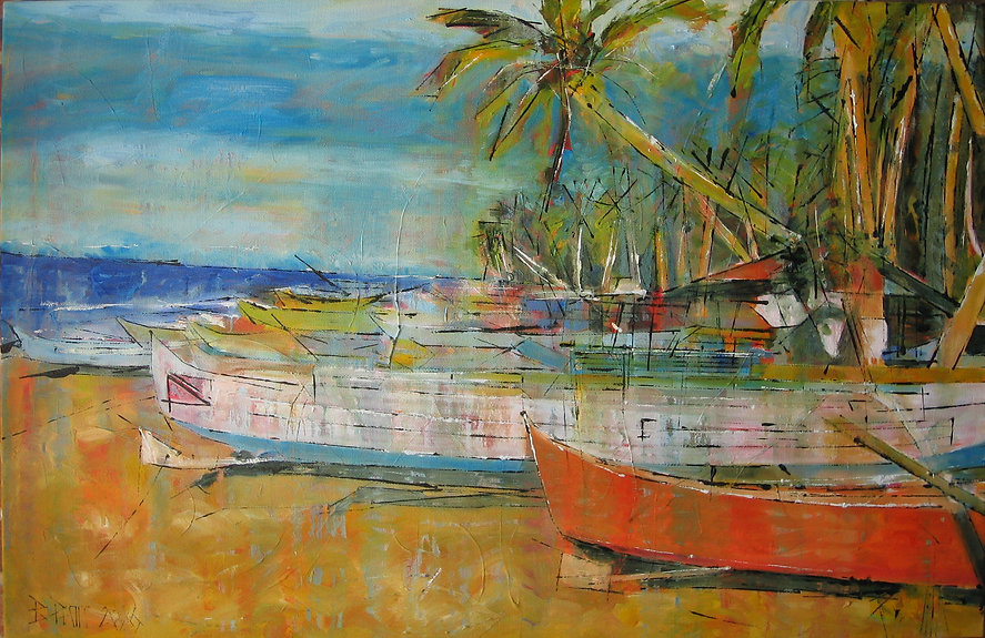 Small orange fisherboat, 92 x 60 cm, hui
