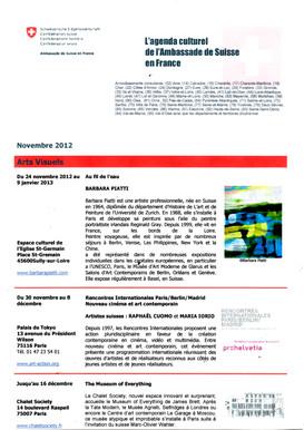 2012 Agenda culturel de l'Ambassade de Suisse, Paris