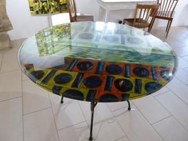 """""""Choix de planètes"""" peinture-table avec verre"""