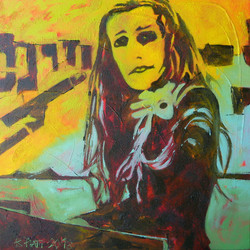 Accusatrice, 50 x 50 cm, huile sur toile