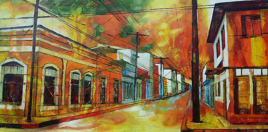 Cienfuegos,50 x 100 cm, huile sur toile,