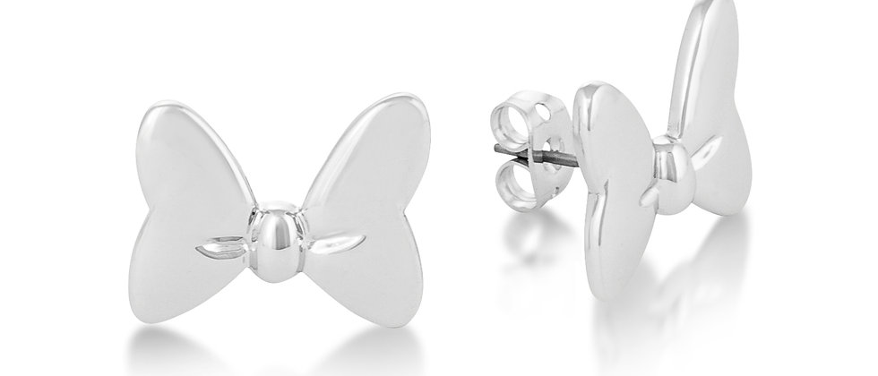 14 ct white gold plated Disney Minnie Mouse Bow Stud Earrings