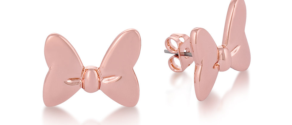 14 ct rose gold plated Disney Minnie Mouse Bow stud earrings