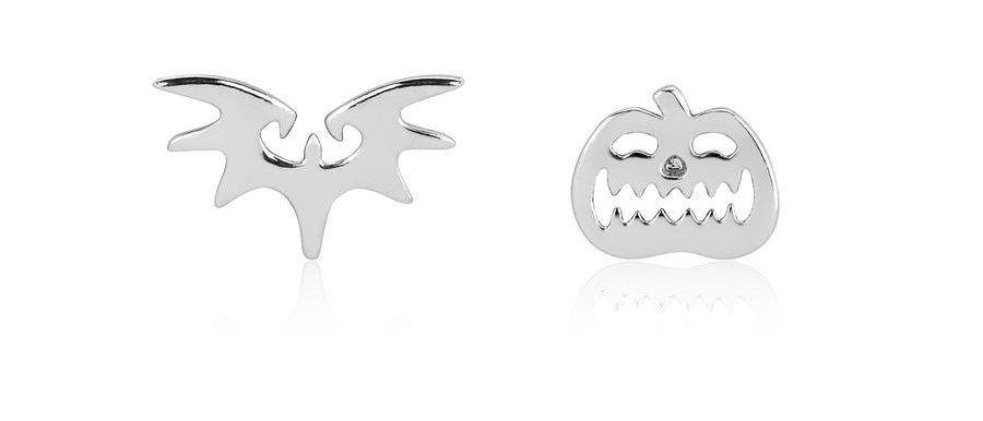 Disney Halloween Jewelry - Tim Burton's The Nightmare before Christmas bat and pumpkin stud earrings