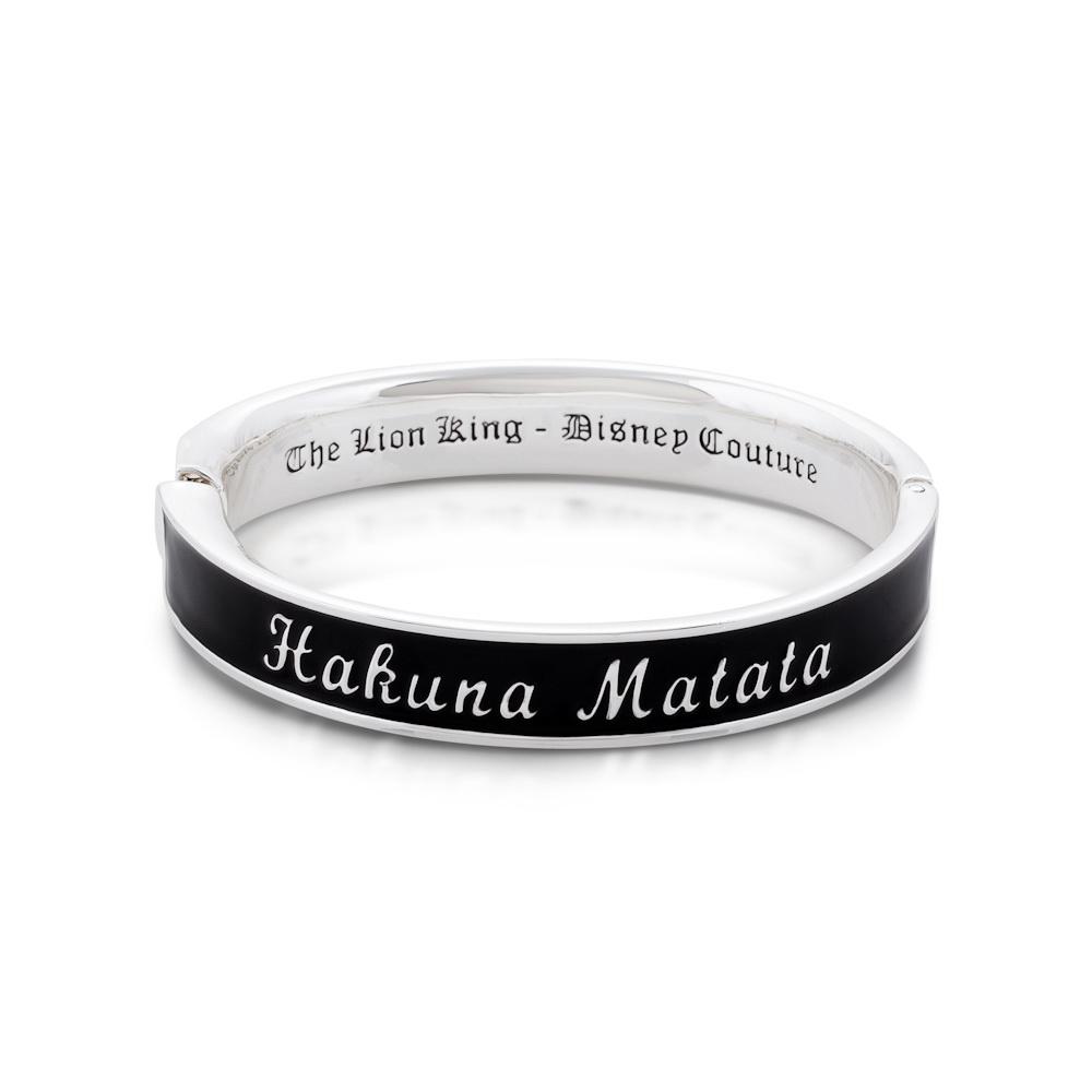 14ct white gold plated Disney The Lion King 'Hakuna Matata' black enamel bangle