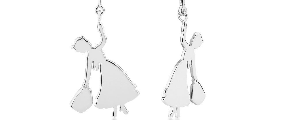 14ct White gold plated Disney Mary Poppins Flying earrings