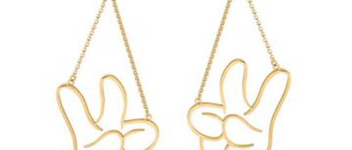 14ct gold plated Disney Mickey Mouse Glove Drop Earrings