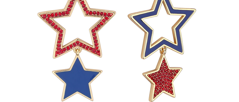 Disney Dumbo Gold Plated Circus Star Crystal Drop Earrings