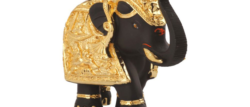 Elephant Black & Gold with Trunk up