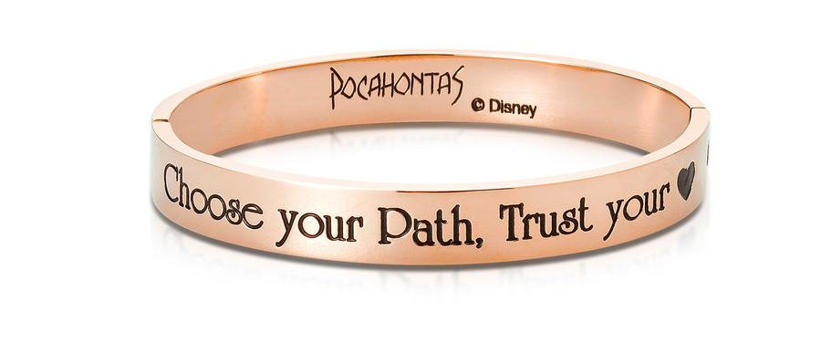 14ct rose gold plated Disney Pocahontas bangle 'Choose your path, trust your heart'