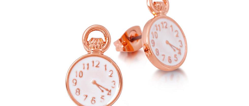 14ct Rose gold plated Disney Alice in wonderland Clock Stud earrings