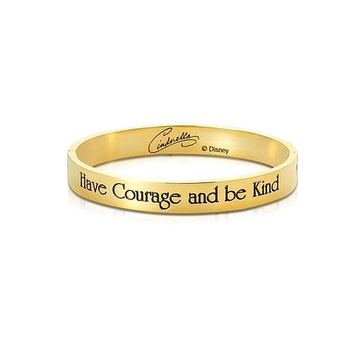 14ct yellow gold plated Disney Cinderella 'Have Courage and Be Kind' Bangle