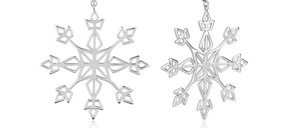 14ct white gold plated Disney Frozen 2 Elsa Snow Flake Hoop Earrings
