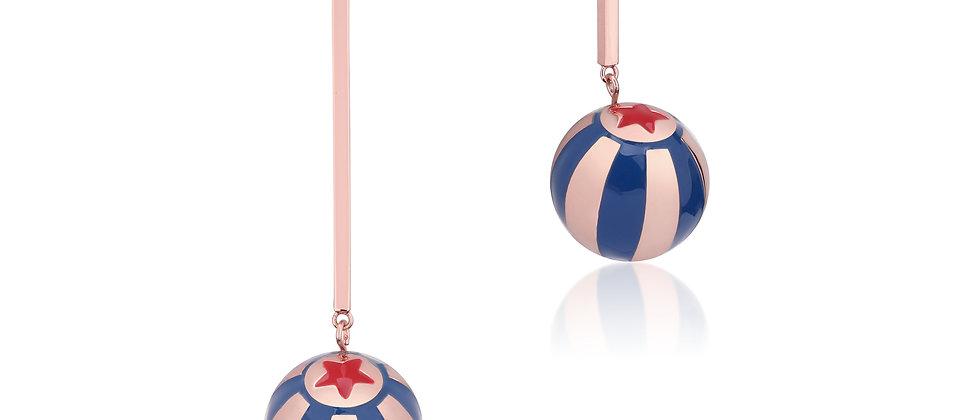 Disney Dumbo Rose Gold Plated Circus Ball Asymmetric Drop Earrings