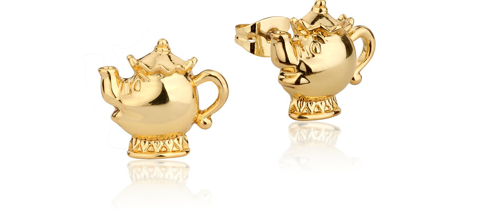 14ct yellow gold plated  Disney Beauty and the Beast Mrs. Potts Stud Earrings