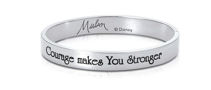Courage makes you stronger - 14ct white gold plated Disney Mulan Bangle