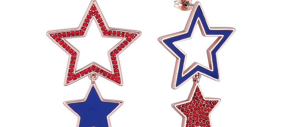 Disney Dumbo Rose Gold Plated  Circus Star Drop Earrings