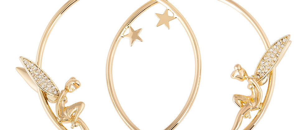 Disney Tinker Bell Yellow Gold Hoop Earrings