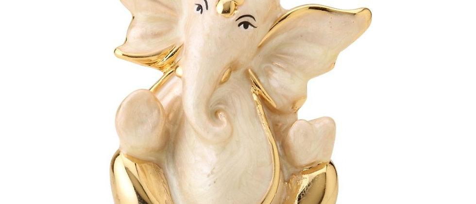 Pearl White Flying Ganesha Medium