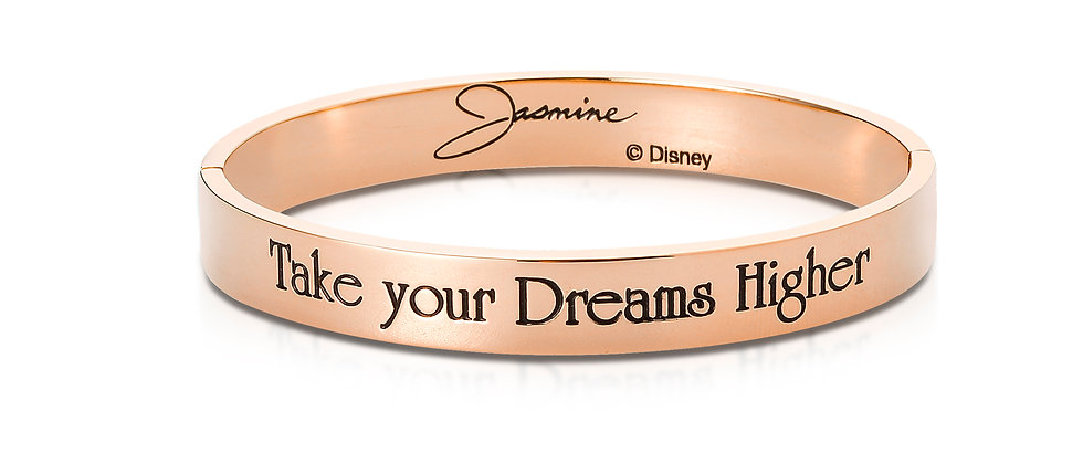 """Rose Gold Aladdin Bangle engraved with """"Take your Dreams Higher."""""""