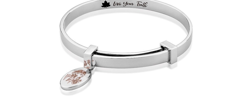 14ct white gold plated Disney Frozen 2 Anna Adjustable Bangle