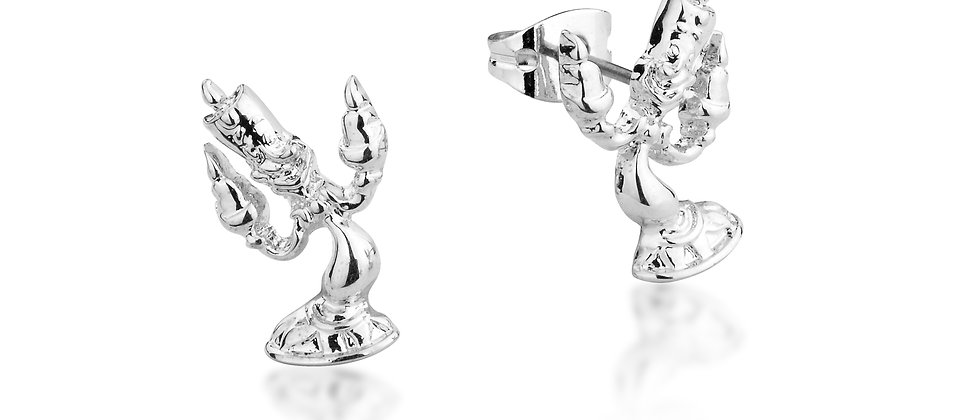 14ct white gold plated Disney Beauty and the Beast lumiere stud earrings