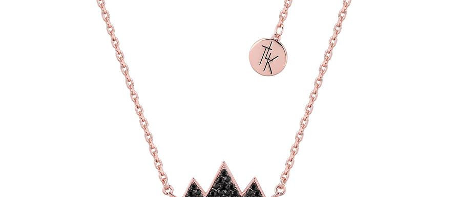 Disney The Lion King Necklace - 14ct rose gold plated crown necklace with  black swarovski crystals
