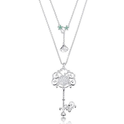 14ct white gold plated Disney The Little Mermaid Key Necklace engraved with 'Give Voice to your Dreams'