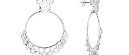 14ct White Gold Plated Mickey Mouse Hoop Earrings
