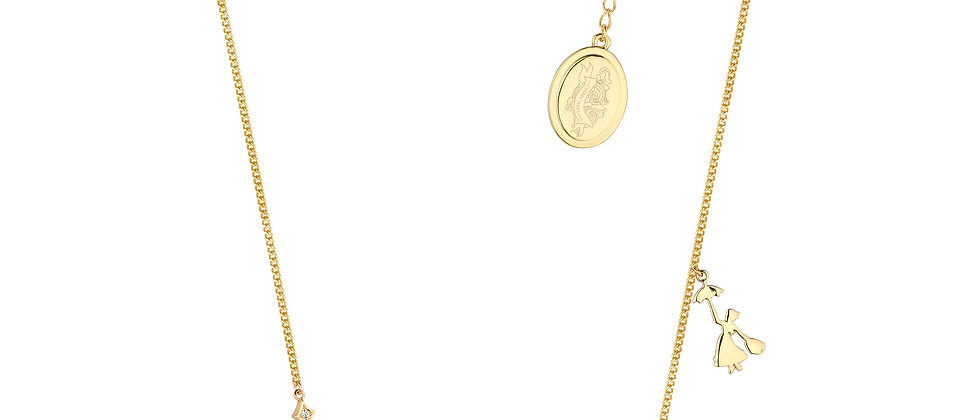 14ct yellow gold plated Disney Mary Poppins 'Cherry Tree lane' Necklace - home is where your heart is.