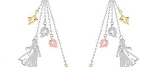 14ct gold plated Disney Frozen 2 Elsa Leaves Drop Earrings