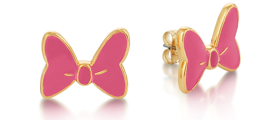 14ct yellow gold plated Disney Minnie Mouse Pink Enamel Bow Stud Earrings