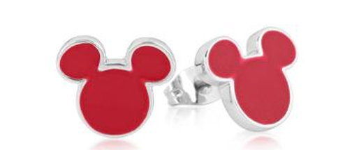 14ct Gold Plated Disney Mickey Mouse Red Enamel Stud Earrings