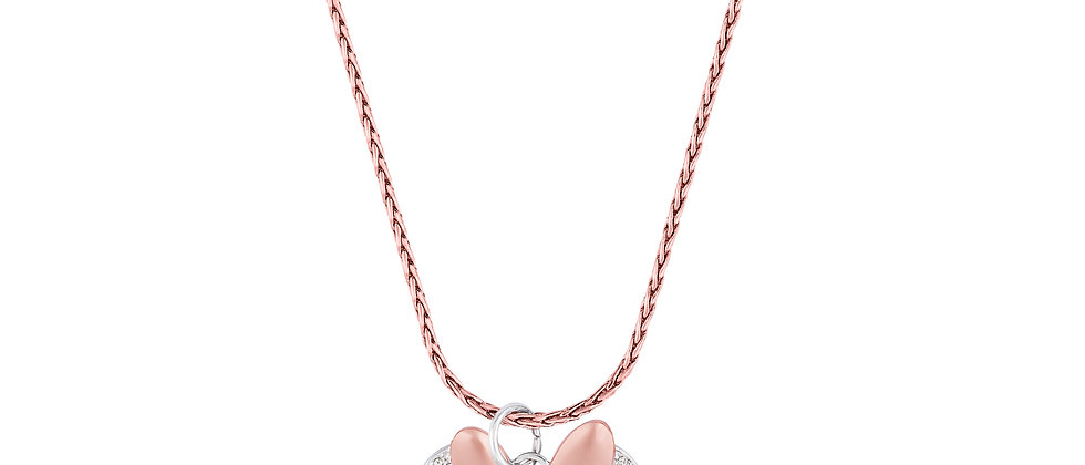 Disney Minnie Mouse Bow Necklace - 14ct white gold plated