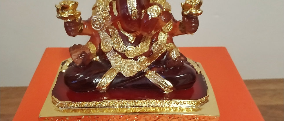 24kt Gold Plated Crystal Clear Square Base Ganesha Medium