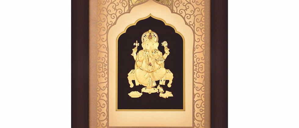 Medium Ganesha with Temple Style Carving