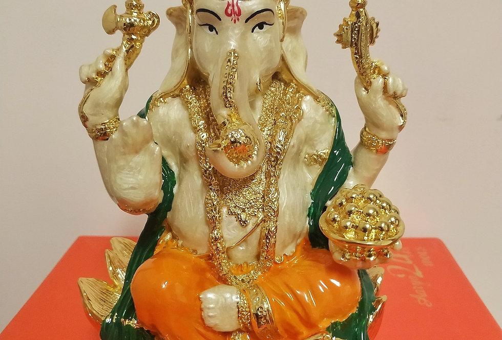 24kt Gold Plated Pearl White Vighnaharta Ganesha Idol