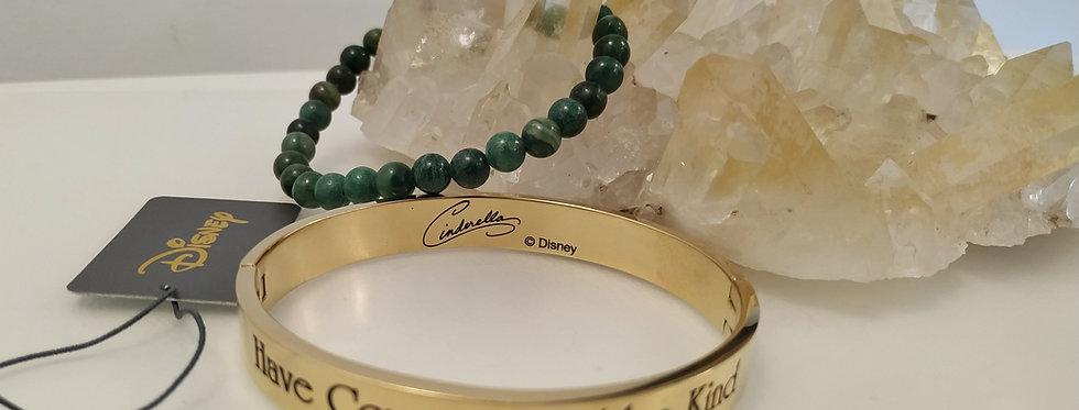 Jade Bracelet with Gold Plated Disney Cinderella Bangle