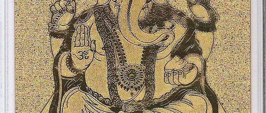 Ganesha Postcard 24k Gold Foil
