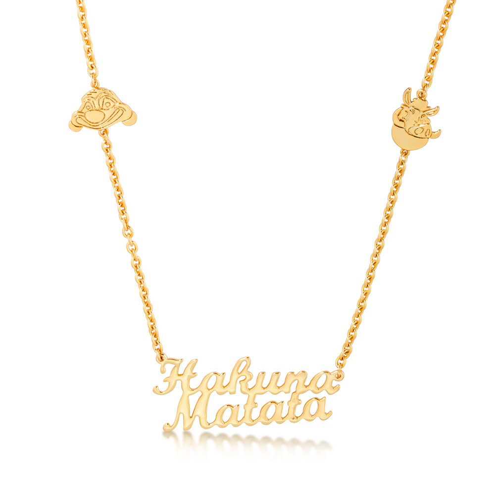 14ct yellow gold plated Disney The Lion King 'hakuna matata' outline necklace