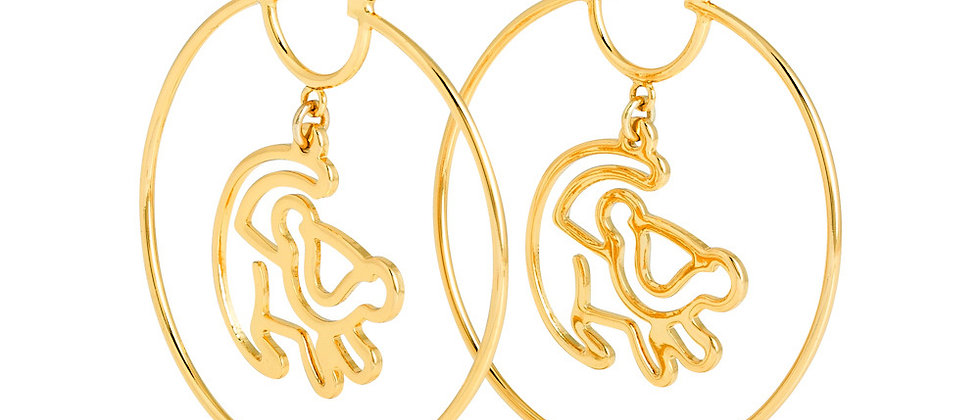 yellow gold plated Lion King Simba earrings
