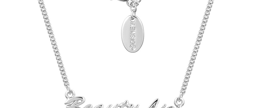 14ct white gold plated Disney Beauty and the Beast 'Beauty Lies  Within' Necklace