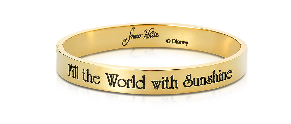 Fill the world with Sunshine -  Disney Snow White  14 ct gold plated Bangle