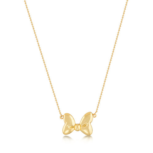 Minnie Mouse Bow Necklace - 14 ct yellow gold plated