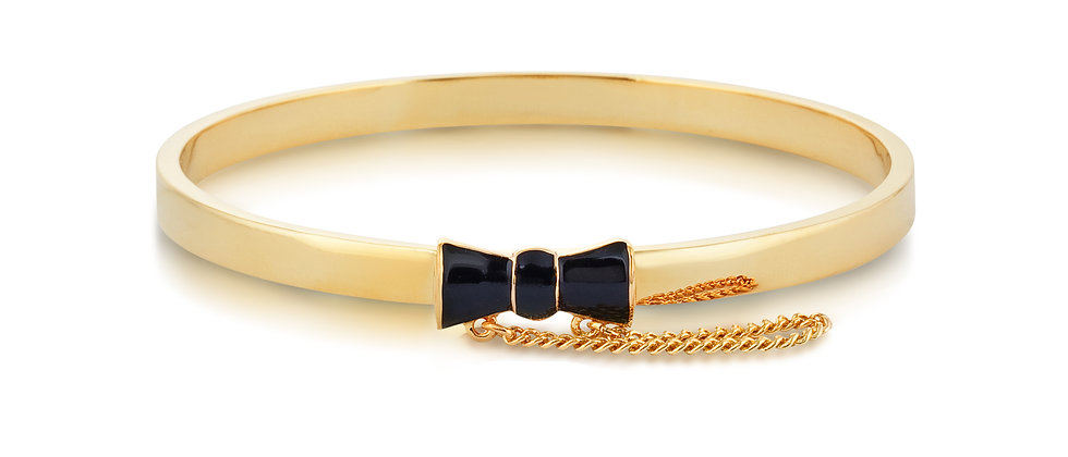 14ct yellow gold plated Disney Minnie Mouse Black Bow Bangle