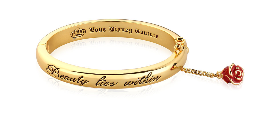 Yellow Gold Plated Beauty and the Beast 'Beauty lies Within' Bangle