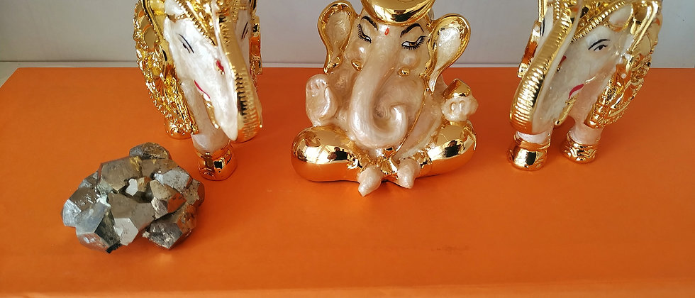 24k gold plated Lord Ganesha and Two Elephants statues with natural pyrite cluster